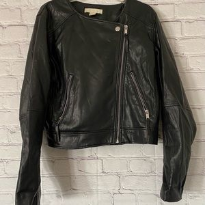 H&M FAUX LEATHER POLYESTER BLACK JACKET SIZE 12